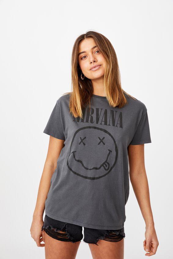 Nirvana Tee, VINTAGE WASH GRANITE GREY/LCN LIV NIRVANA FACE LOG
