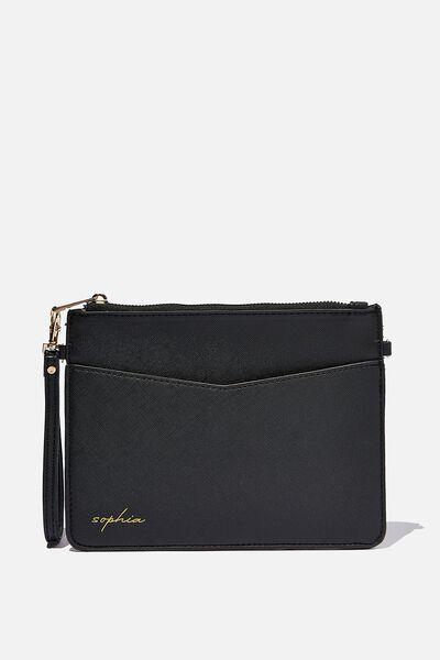 Personalised Nia Envelope Clutch, BLACK TEXTURE