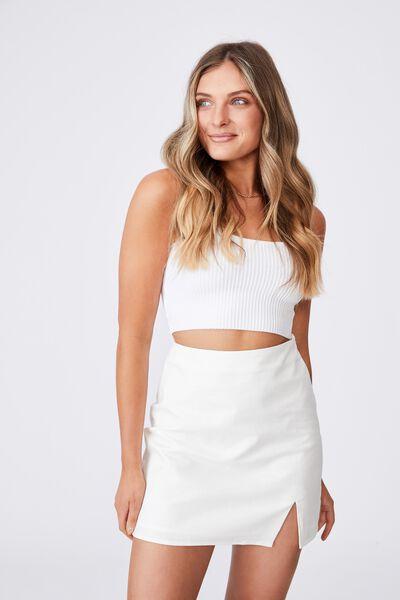Della Split Mini Skirt, WHITE