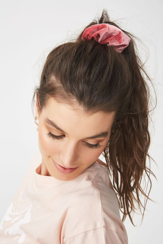 Velvet Scrunchie, PLUSH PINK PEACH