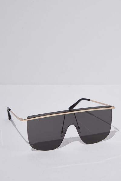 Kourtney Shield Sunglasses, GOLD/BLACK SMOKE