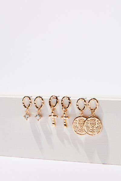 Mini Charm Earring Set, GOLD