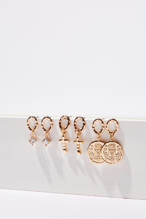 Mini Charm Earring Set, GOLD