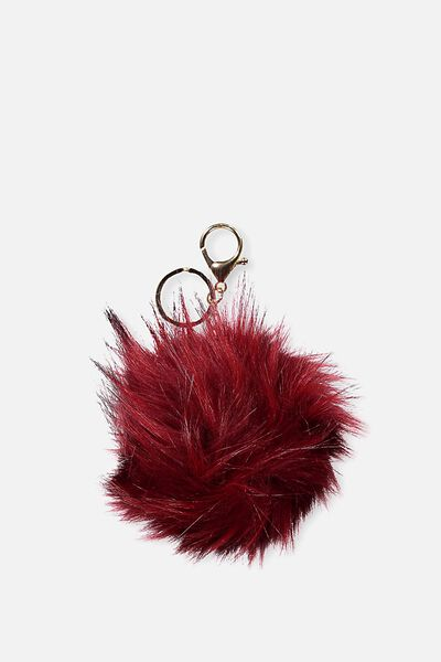 Shaggy Faux Fur Keyring, RED