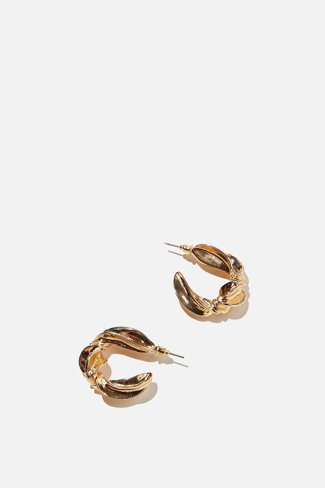 Stacey Twist Hoop Earrings, GOLD
