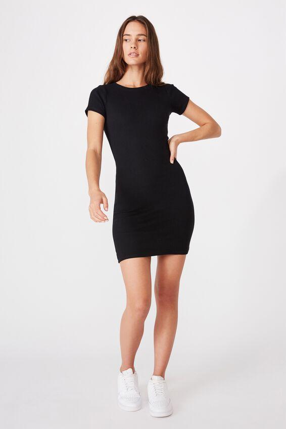 Lucia Rib Tee Mini Dress, BLACK