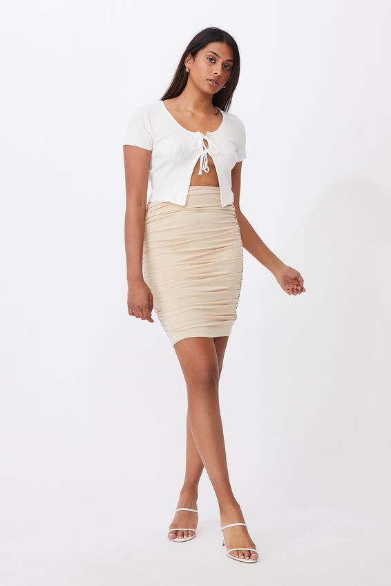 Oakley Gathered Midi Skirt, FRAPPE
