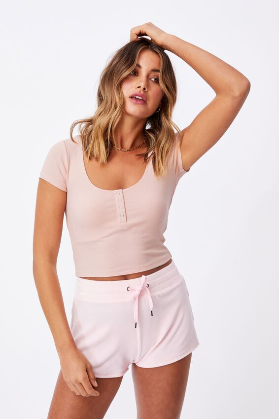 Laney Snap Button Short Sleeve Top, CHIC PINK
