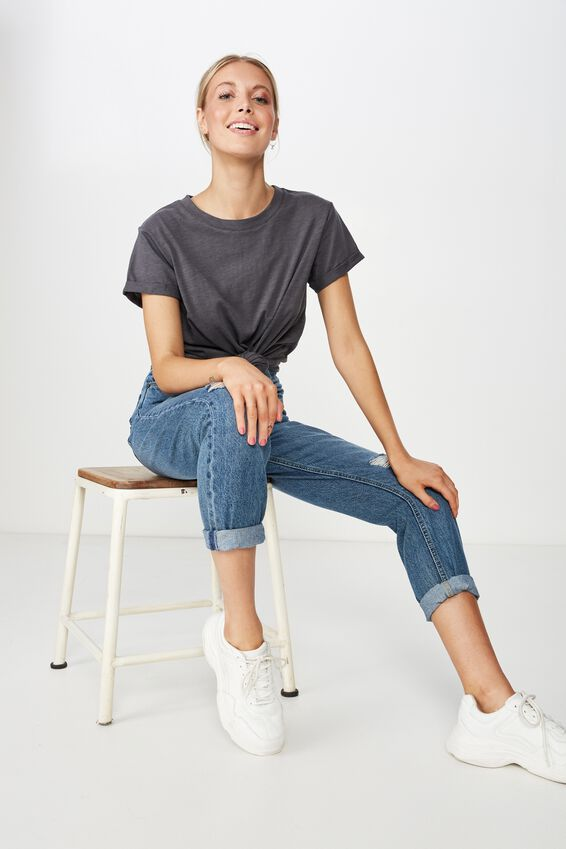 Laura Knotted Tee, GRANITE GREY