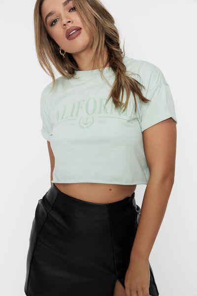 Tamara Printed Crop T Shirt, MINTY GLOW/CALI ANCHOR