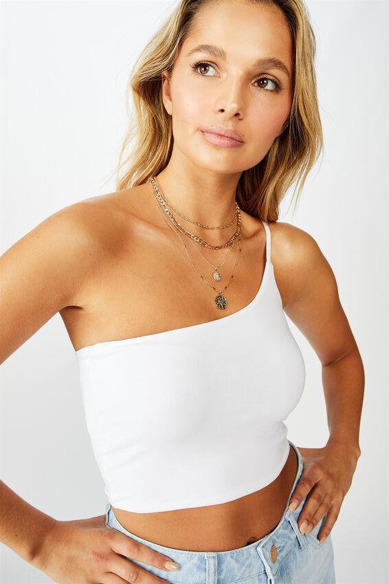 Shannee Strappy One Shoulder Crop, WHITE