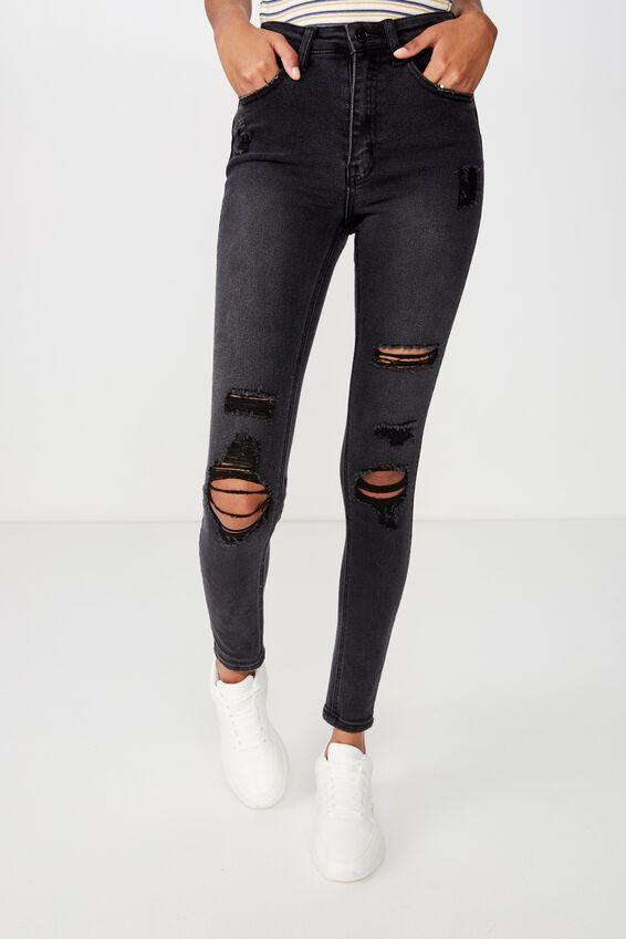 Long Skinny Premium Ripped Jean, WASHED BLACK