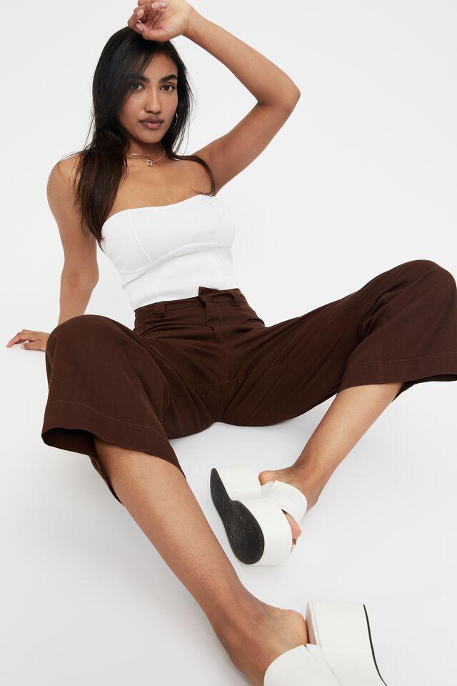 Zoe Wide Leg Pant, CHOCOLATE