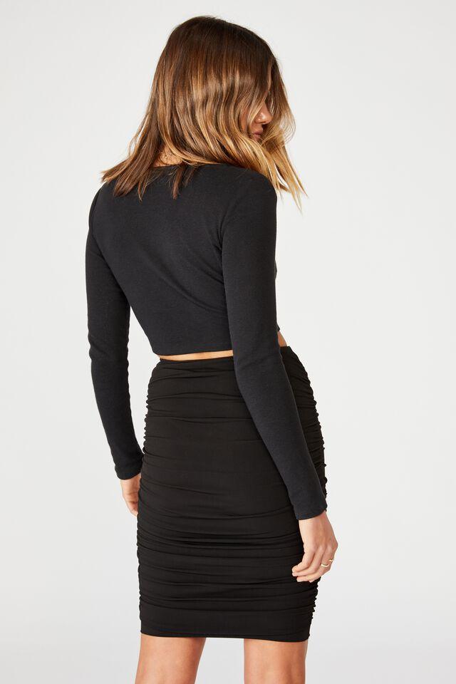 Oakley Gathered Midi Skirt, BLACK