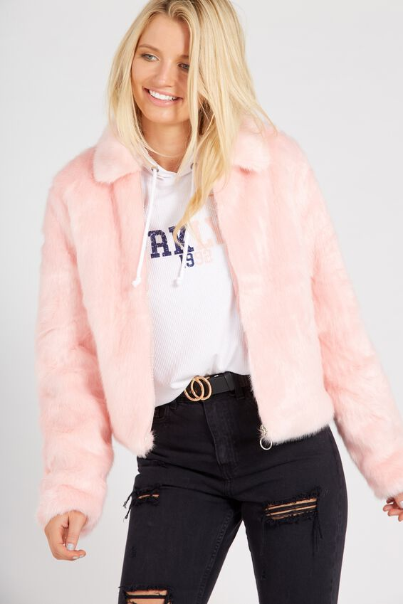 Crop Faux Fur Bomber at Supre in Broadmeadows, VIC | Tuggl