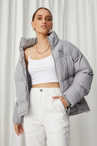 Personalised Jane Puffer Jacket - Pearl Grey, PEARL GREY