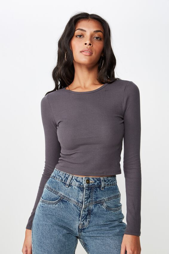 Long Sleeve Rib Crew Neck Crop Top, GRANITE GREY