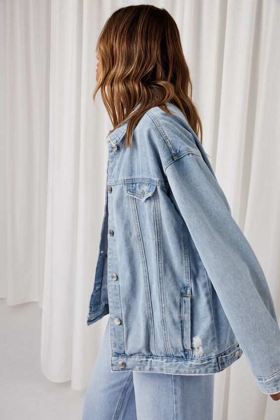 Oversized Denim Jacket, MID BLUE