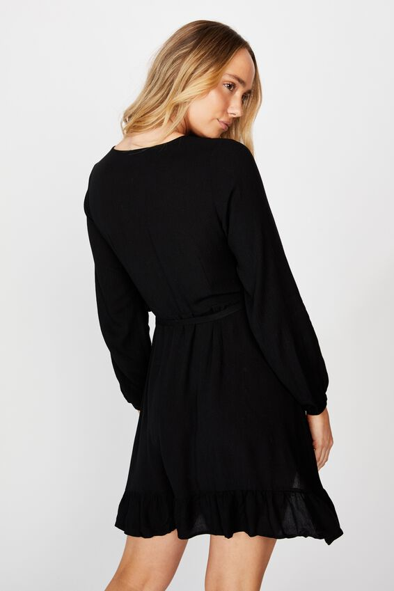 Drew Long Sleeve Wrap Dress, BLACK