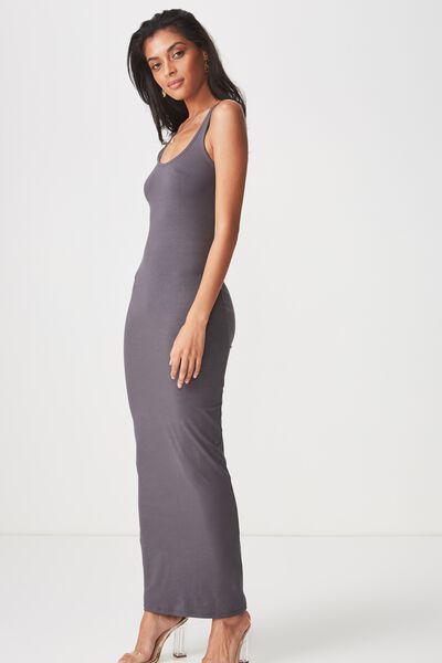 Basic Maxi Dress, CHARCOAL GREY
