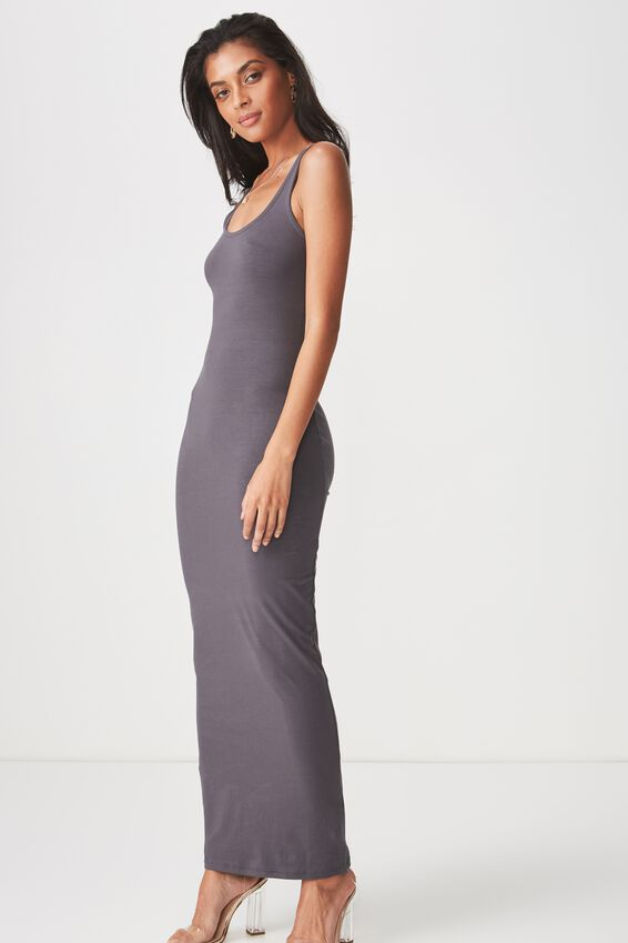 Basic Maxi Dress, CHARCOAL GREY