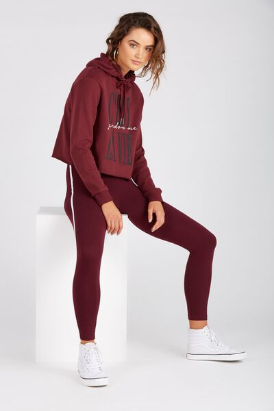 The Side Stripe Legging, BURGUNDY