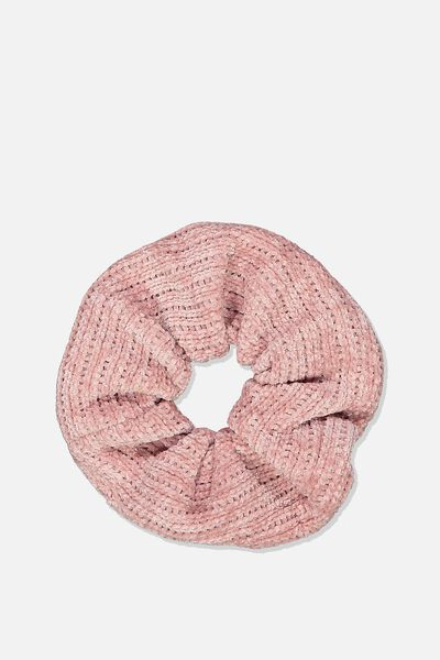 Mini Chenille Scrunchie, ROSE QUARTZ PINK