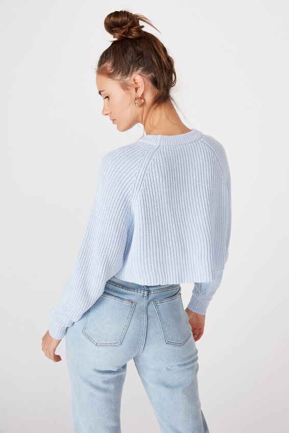 Molly Crew Neck Crop Knit, BLUE PETAL