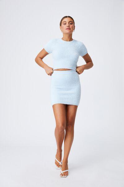 Melissa Fluffy Skirt Co Ord, PEARL BLUE