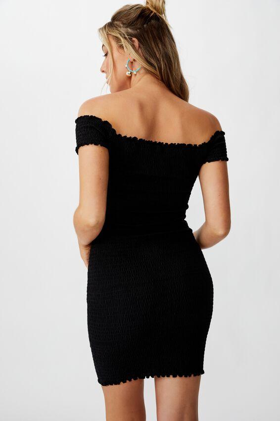 Kristy Shirred Off Shoulder Dress, BLACK