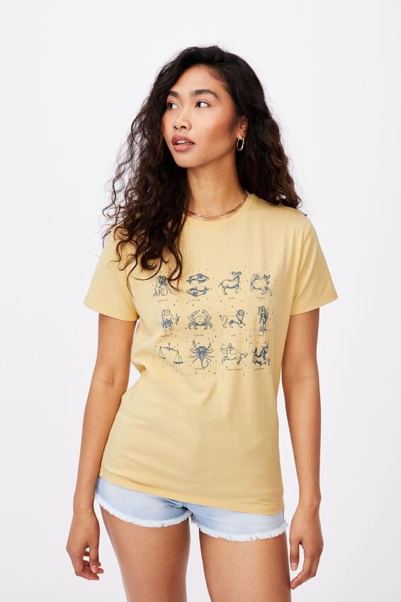 Lola Printed Longline T Shirt, BUTTERMILK/ASTROLOGY CHART