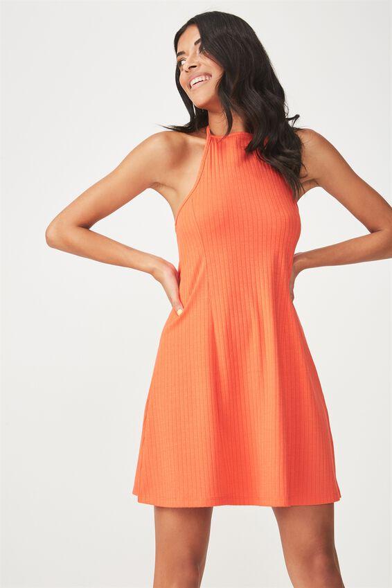 Rib Halter Flare Dress, TANGERINE