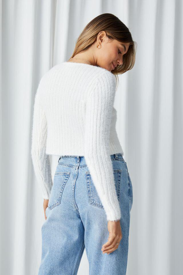 Adalyn Tie Front Knit Cardigan, WHITE