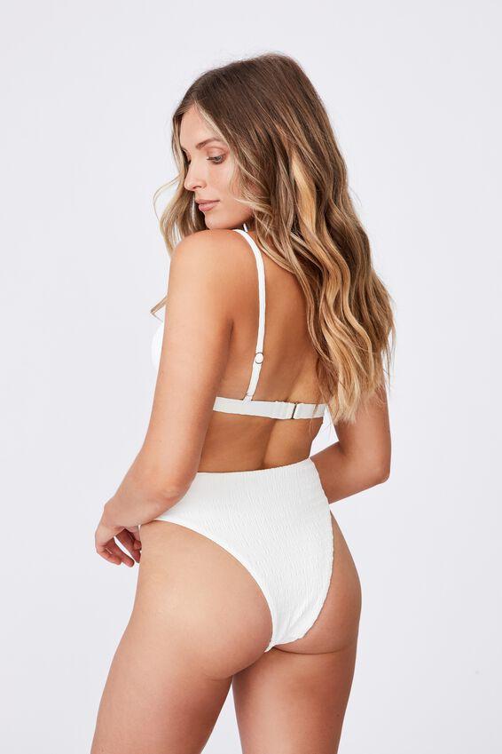 Santa Barbara High Waist Bikini Bottom, WHITE/SHIRRED