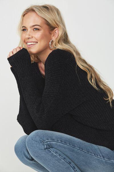 Scarlette Long Sleeve Chunky Knit, BLACK