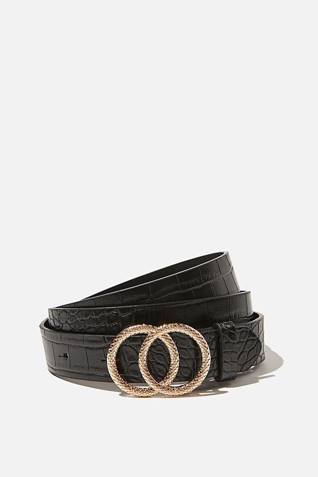 Double Hoop Croc Belt, BLACK GOLD