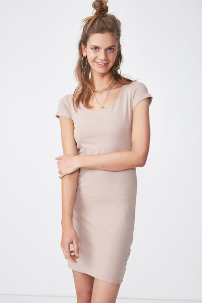 Short Sleeve Bodycon Dress, NATURAL