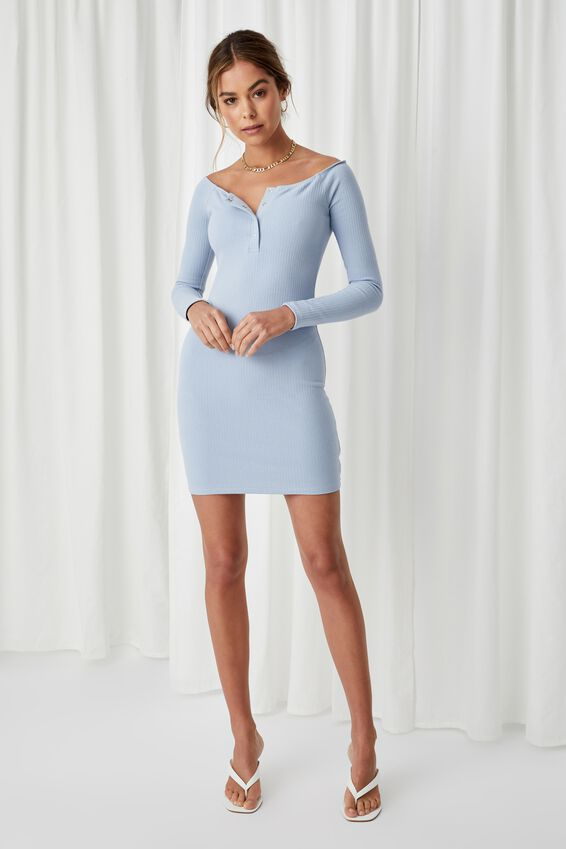 Pia Buttoned Mini Dress, HAZY BLUE
