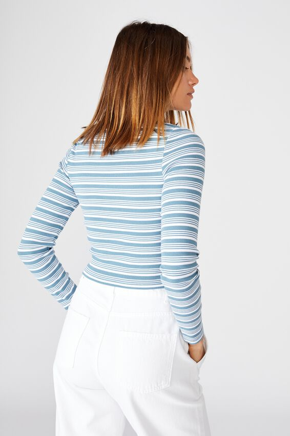 Ash Long Sleeve Rib Top, MILLY STRIPE (FADED BLUE JADE/WHITE)