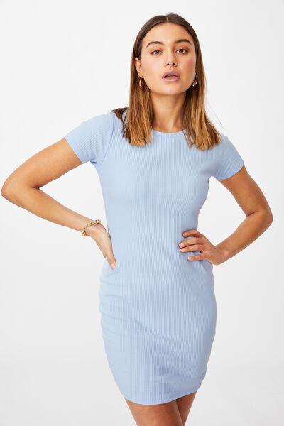 Lucia Rib Tee Mini Dress, BLUE PETAL