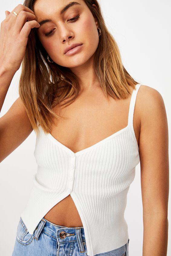 Brianna Button Through Cami, WHITE