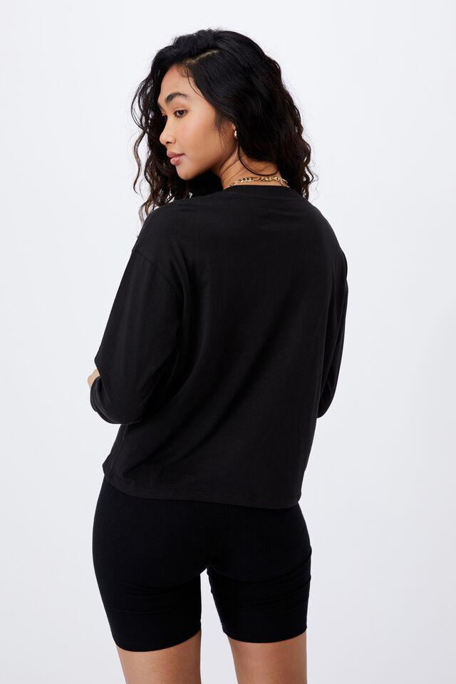 Talia Long Sleeve T Shirt, BLACK