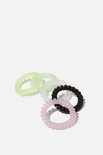 Spiral Frosted Hair Ties, MULTI