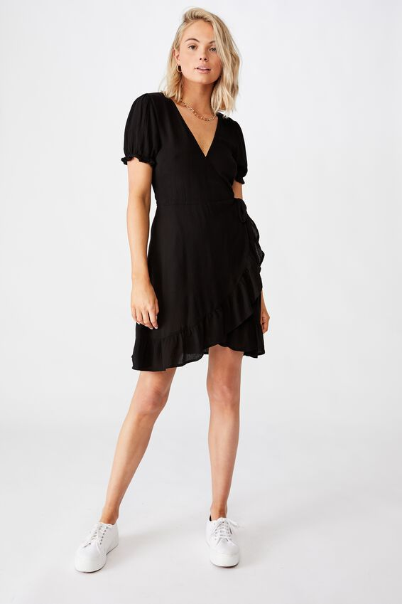 Ellie Peasant Sleeve Wrap Dress, BLACK