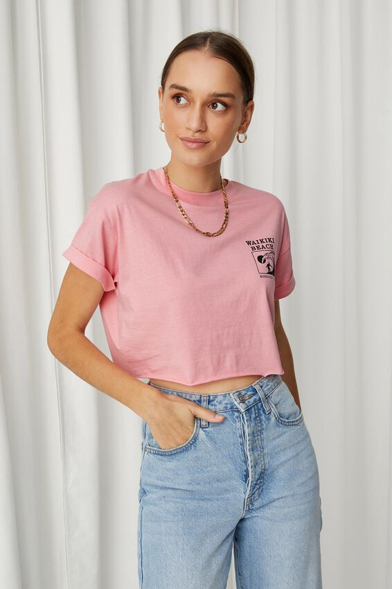 Tamara Printed Crop T Shirt, ROSEBLOOM/WAIKIKI SURF