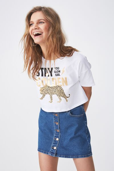 Printed Loose Crop Tee, WHITE/STAY GOLDEN