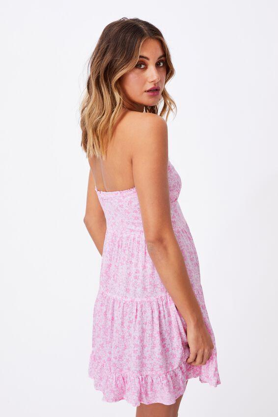 Savannah Tiered Bustier Dress, HANNAH FLORAL TAFFY PINK