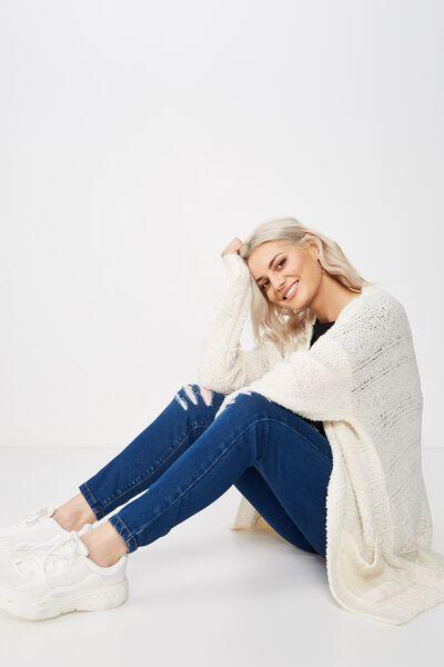 Lana Textured Knit Cardigan, MIST