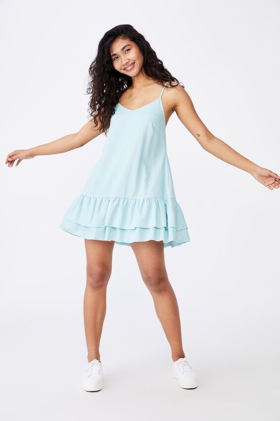 Harper Strappy Tiered Dress, REEF BLUE