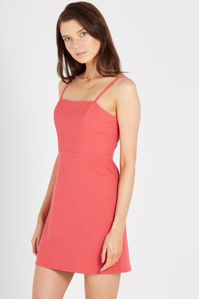 90S Fitted Cami Dress, RED